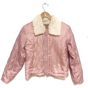 New Levi's Soft Pink Quilted Coat Sherpa lined L